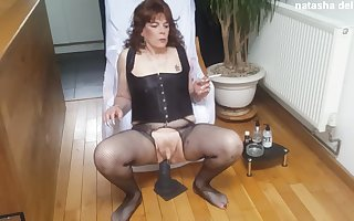 Smoking Hot TGirl Riding Huge Horse Dildo