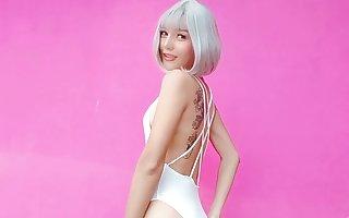 Ladyboy Meena Dancing in White Body Suit